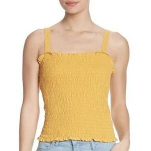 Abound Yellow Smocked Crop Tank Top NWT